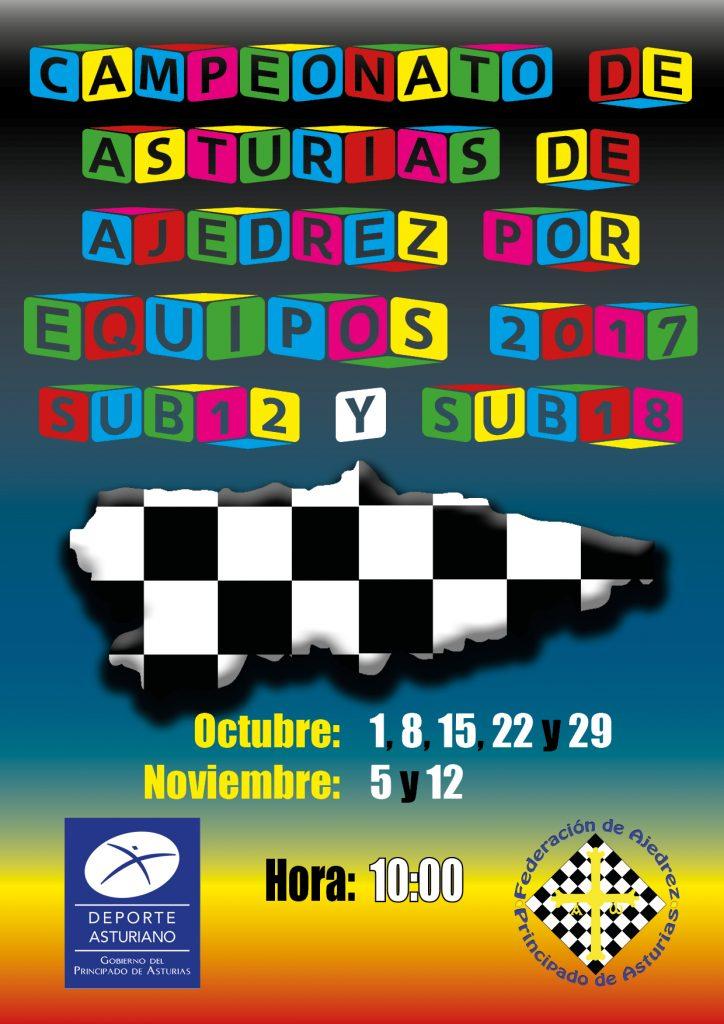 Cartel Cto Asturias de Ajedrez por Equipo Sub12-18